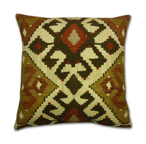 Kalkan Kilim Print Terra and Earth Cushion (43cm x 43cm)