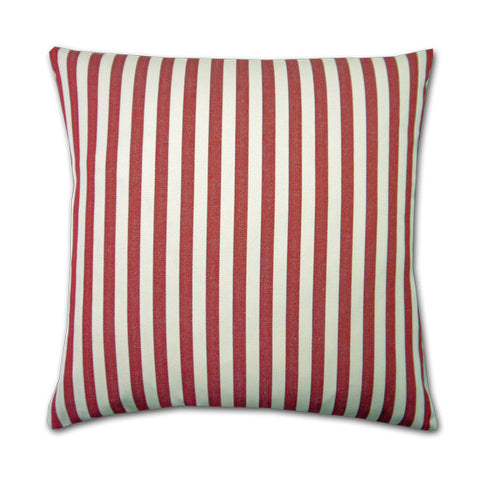 Cotton Stripe Cushion, Red/Cream (43x43cm)