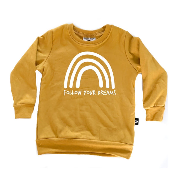 FOLLOW YOUR DREAMS Mustard Sweatshirt - Only 6-9m