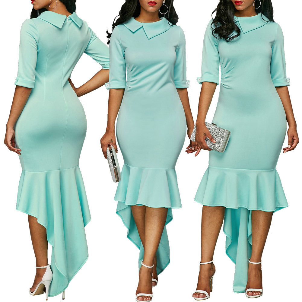 Green Fishtail Long Party Dress – Fab USA Accessories