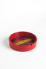 Round Red Mid-century Ashtray With Gold/Black Accents