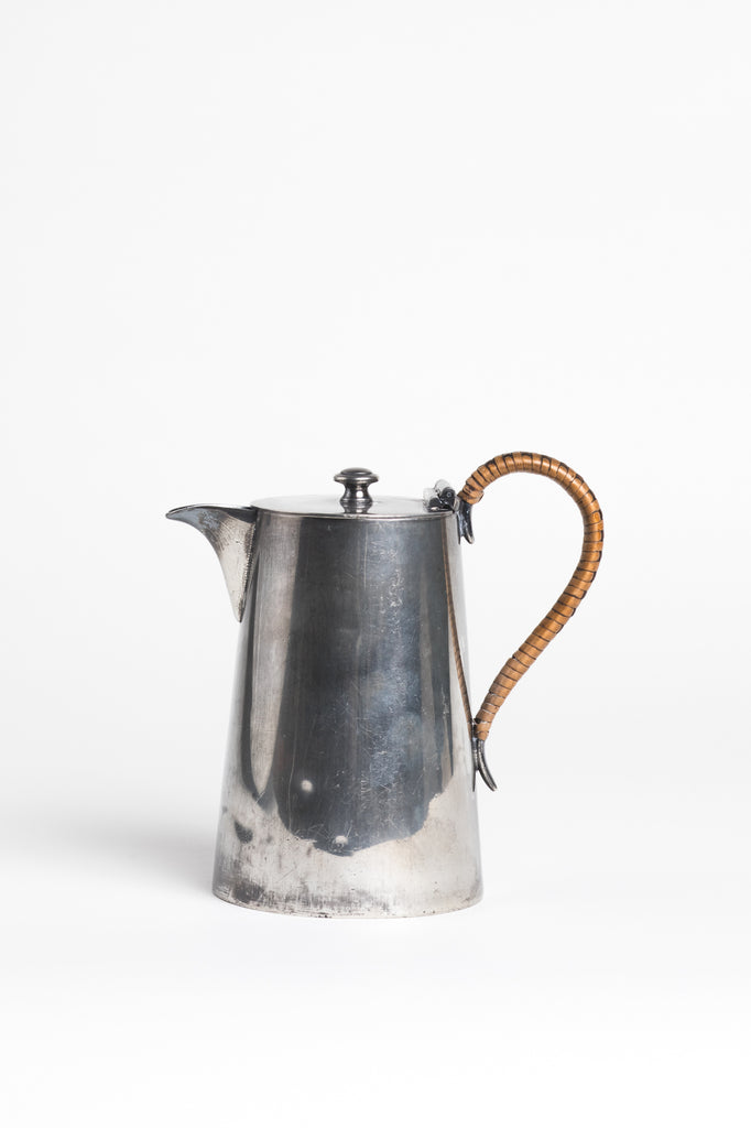Vintage Silver Plated Coffee Pot with Caned Rattan Handle