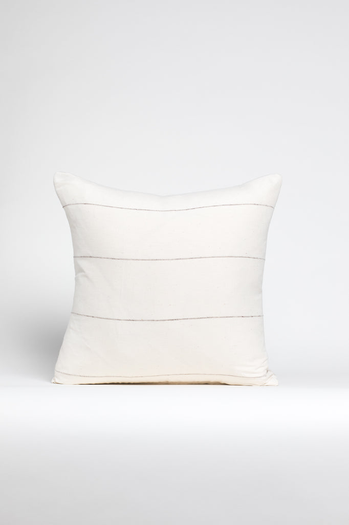Cream Silk Pillow with Various Spaced Stripes
