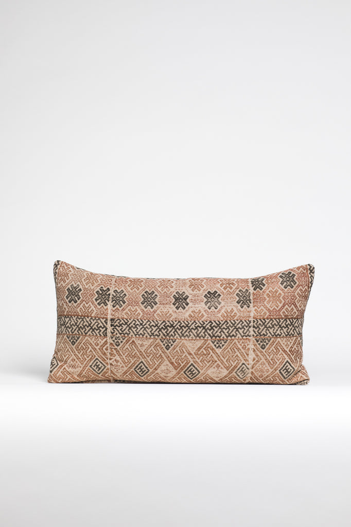 Vintage Printed Kilim Kidney Pillow