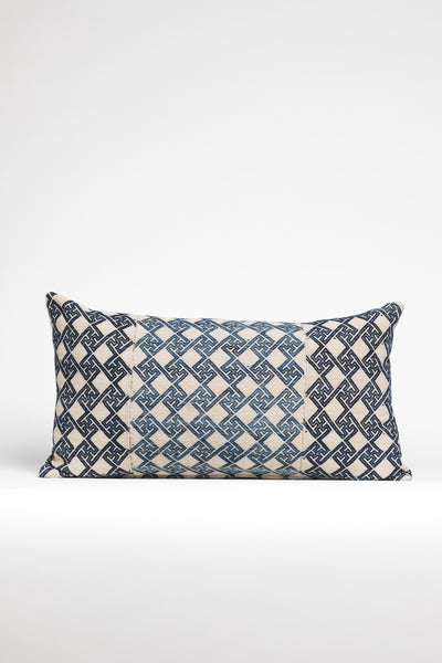 Blue and Navy Textured Geometric Kilim Pillow