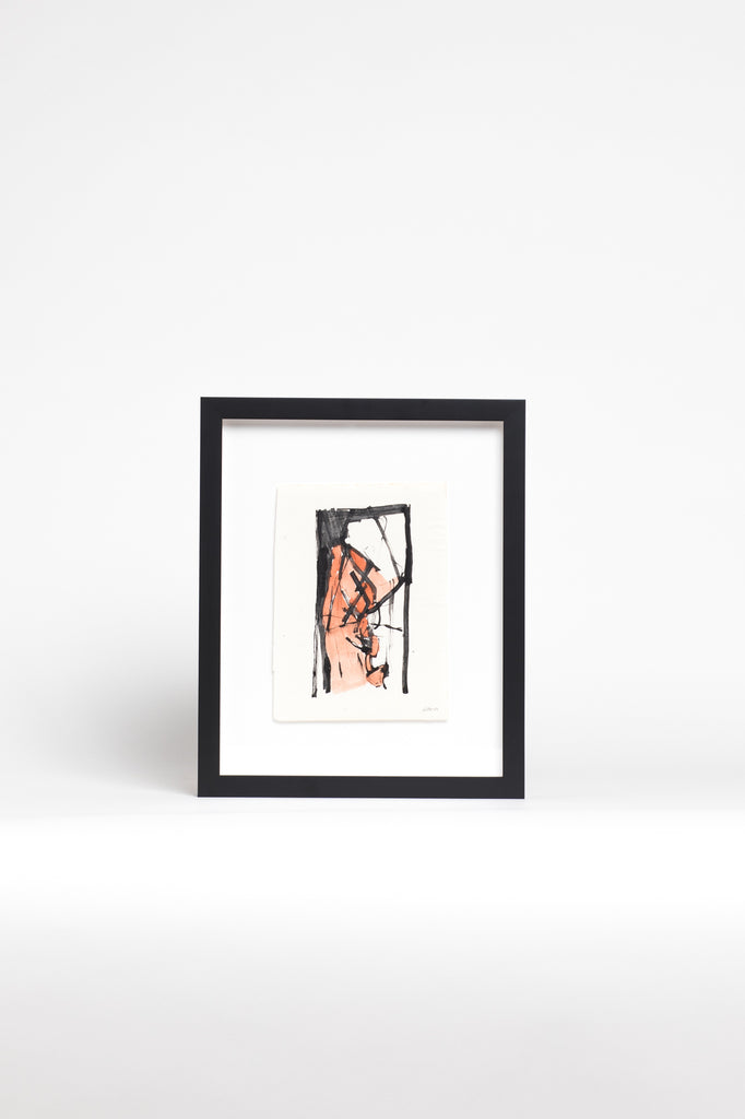 Framed Pink and Black Small Abstract Painting by Slotnick.