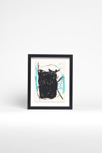 Framed Black and Blue Abstract Painting by Slotnick