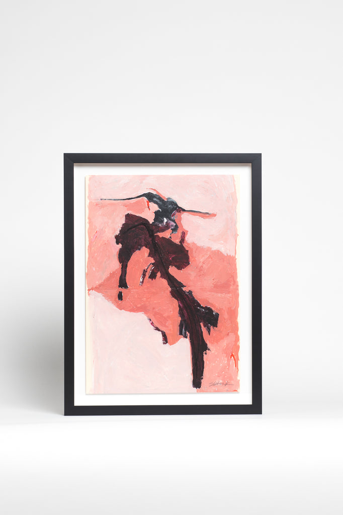 Pink and Black Abstract Framed Painting