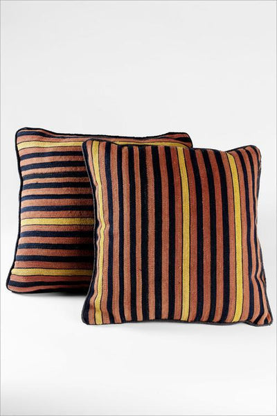 Curry Striped Vintage Kilim Pillow