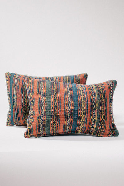 Multicolor Striped Vintage Kilim Kidney Pillow