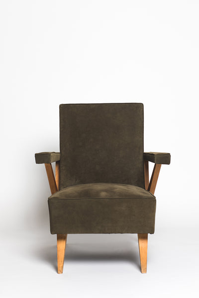 Vintage Mid-Century Italian Green Suede Lounge Chair