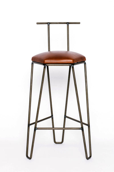 J1 Studios: Counter Height Bar Stool with Backrest in Brass
