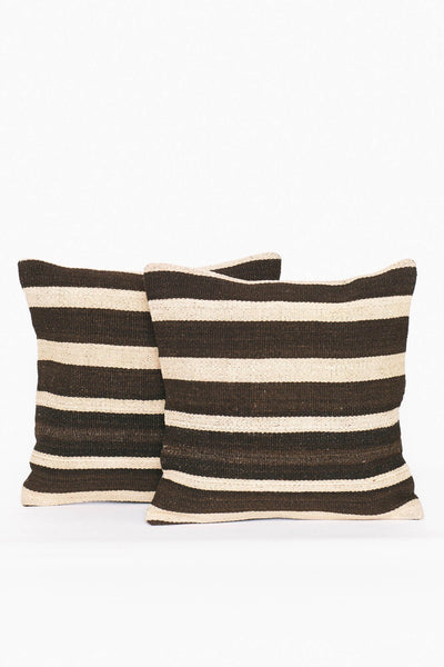 Brown and White Kilim Pillow