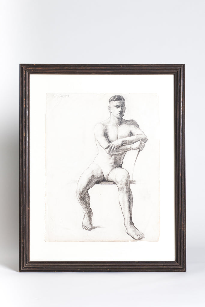 Pair of Vintage Framed and Signed Charcoal Drawings
