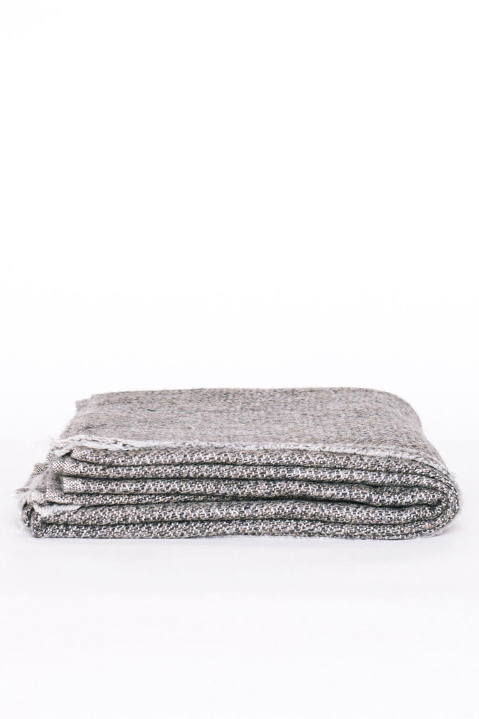 Kashmir Hand Loomed Throw, Grey