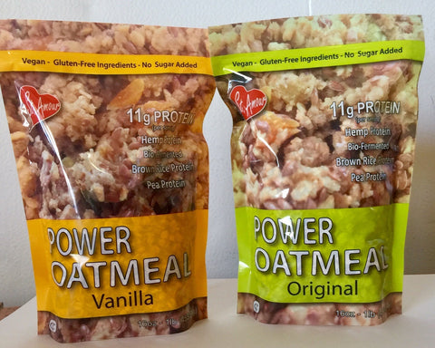 Power Oatmeal, gluten free, vegan high protein stand up pouches