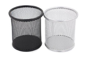 Metal Mesh Desk Pen Holder Black Silver 0013 (Parcel Rate)