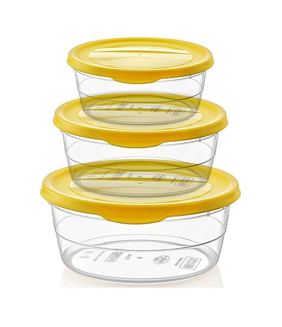 3 Pack Trendy Food Saver Storage Hot/Cold Food Container Plastic Yellow Lid 021019 (Parcel Rate)