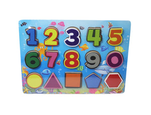 Chunky Number Puzzle and Shapes Children Fun Playing Puzzles 30 x 22cm 1374991 (Parcel Rate)