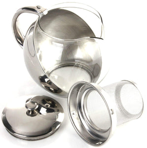 Stainless Steel & Glass Teapot 1100ml Stylish w/ LOOSE TEA LEAF INFUSER TEA POT  2881 (Parcel Rate)