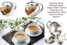 Load image into Gallery viewer, Stainless Steel & Glass Teapot 1100ml Stylish w/ LOOSE TEA LEAF INFUSER TEA POT  2881 (Parcel Rate)