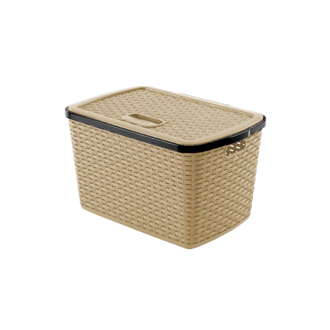 20 Litre Rattan Style Plastic General Household Use Basket 0772 (Parcel Rate)