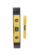 Load image into Gallery viewer, Torpedo Spirit Level 2 Piece Set Yellow Black Builders Levelling Kit 2194 DIY (Parcel Rate)