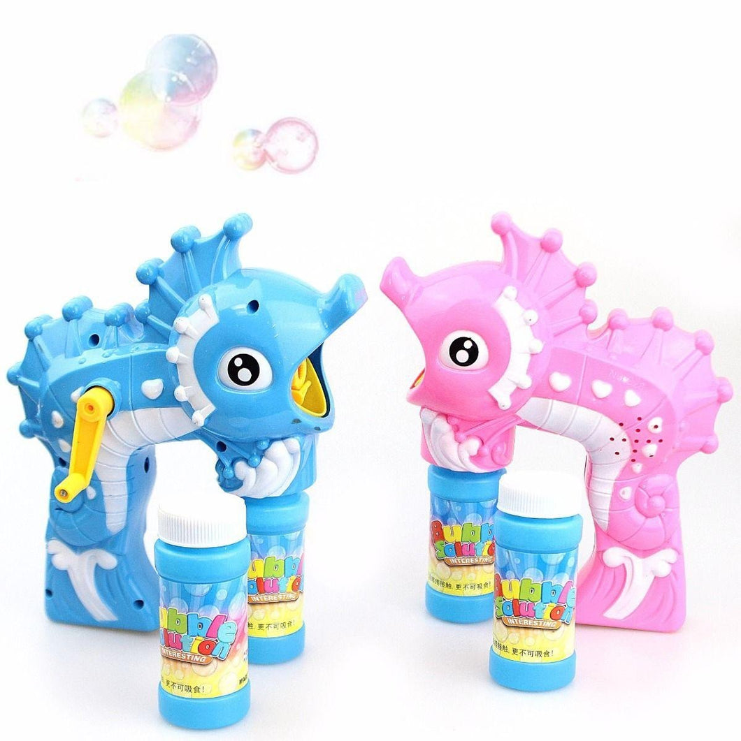 Kids Sea Horse Hand Bubble Gun Soapy Liquid Outdoors Toys 3657 (Parcel Rate)