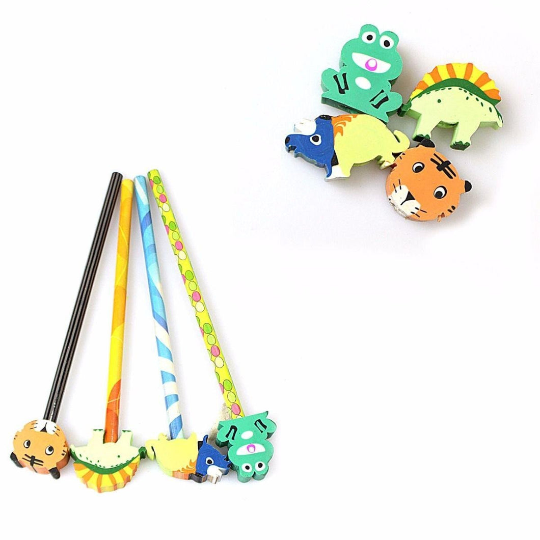 Children's Writing Novelty Pencils With Animal Erasers
