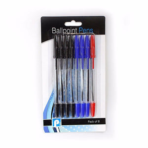8 Pack Blue, Black, Red Ballpoint Pens    3038 (Large Letter Rate)