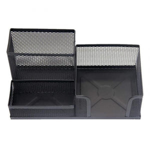 Mesh Desk Organiser Pen Pencil Stationery Holder Black/ Silver Desk Organiser 0020 (Parcel Rate)
