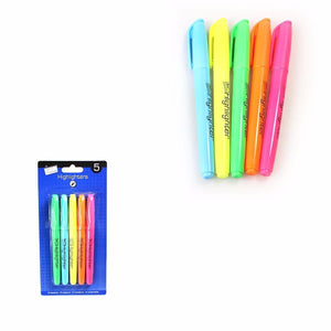 Pack 5 Bright Chisel Tip Highlighter Pens Assorted Coloured Markers Stationery 6363 (Large Letter Rate)