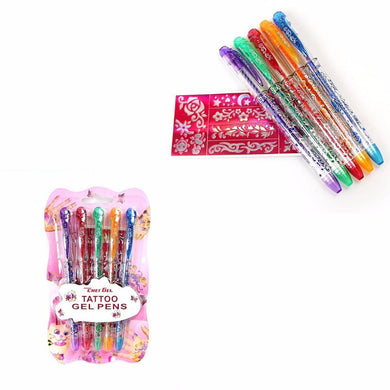 Set 5 Childrens TEMPORARY TATTOO GEL PENS -Body Art Temp Skin Ink & Stencils Set 3598 (Large Letter Rate)