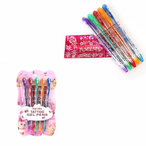 Set Of 5 Childrens Temporary Tattoo Gel Pens Body Art Temp Skin Ink & Stencils Set 3598 (Large Letter Rate)