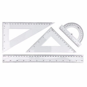 4 Piece GEOMETRY SET -Includes 30cm Ruler, Childrens Home or School Maths Set 3004 (Parcel Rate)