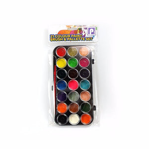 Kids 21 Colour PAINTS, BRUSH & PALETTE SET -Art Paint, Crafts, Home Or School     3083 (Large Letter Rate)