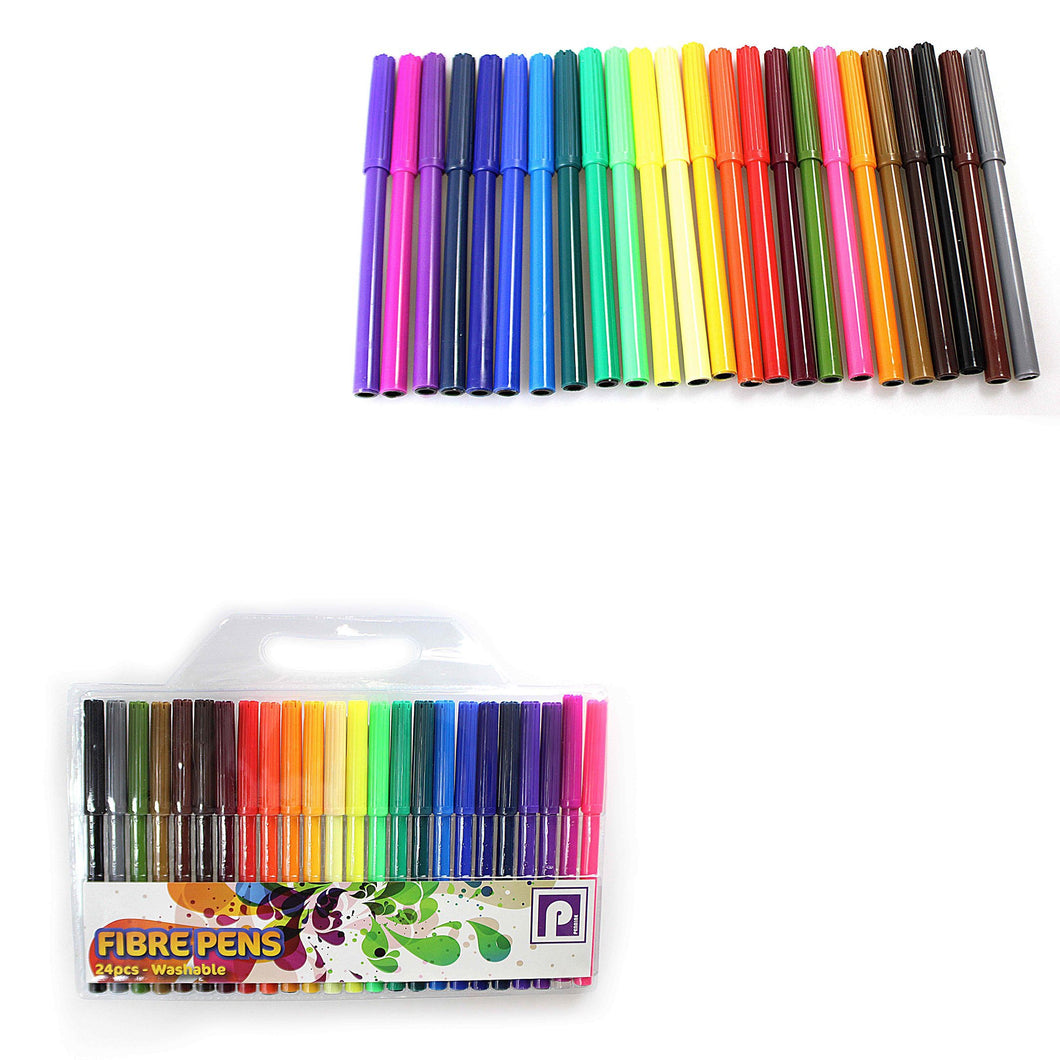 24 Pack Colourful Assorted Washable Fibre Pens Arts And Crafts P2134 (Parcel Rate)