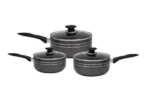 UNA Non Stick HERA 3 Pack Saucepan Set With Glass Lid Safety Handle 16/18/20cm 2780 (Big Parcel Rate)