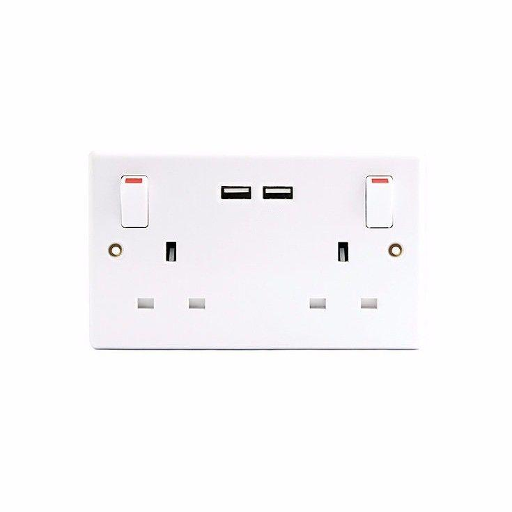 Pifco 2 Gang Switched Socket With USB DIY Electrical Fittings 0507 (Parcel Rate)