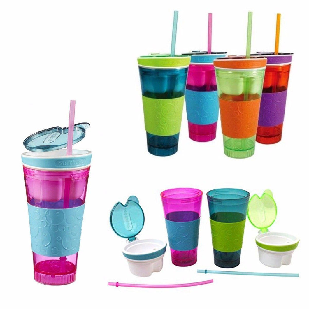 2 in 1 Snack & Drink Cup One Cup -Outdoor, Picnic, Travel, School, Office Lunch   3892 (Parcel Rate)