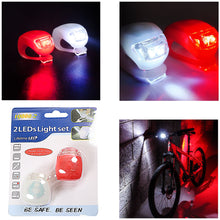 Load image into Gallery viewer, 2 LED Light Set Silicone Bike Lights Flexible Waterproof Red/White 3410 (Large Letter Rate)