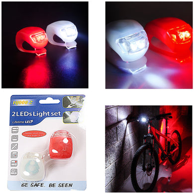 2 LED Light Set Silicone Bike Lights Flexible Waterproof Red/White 3410 (Large Letter Rate)
