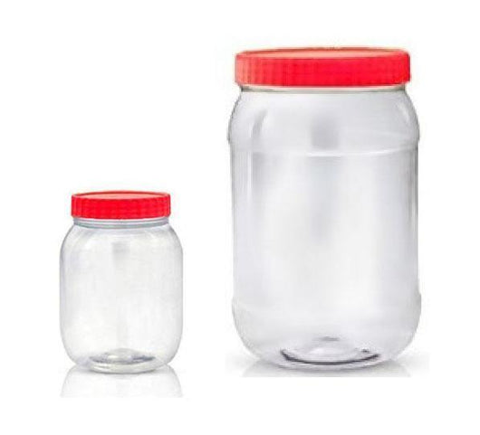 Kitchen Household Storage Plastic Clear Food Jar Sweets Red Lid (4L+750ML) 3333