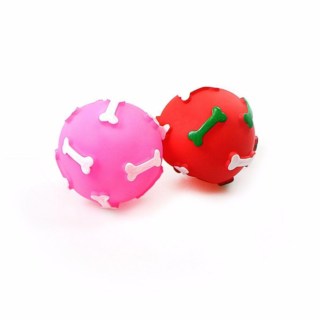 Squeezy Noisy Dog Ball With Bone Design Ideal for Fetch 4752 (Large Letter Rate)