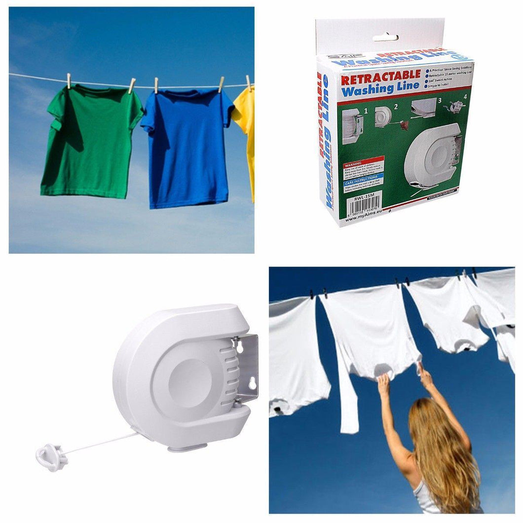 15 Metre 180 Degrees Retractable Washing Line Simple Installation DIY White  1307 (Parcel Rate)