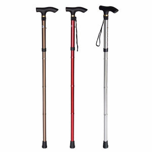 NEW Easy Folding Lightweight Walking Stick Adjustable Aluminum Metal Cane   2838 (Parcel Rate)