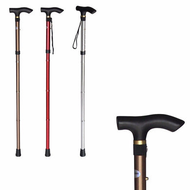 Easy Folding Lightweight Walking Stick Adjustable Aluminum Metal Cane Home Health 2838 (Parcel Rate)
