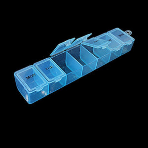 7 Day Pill Box Plastic Tablet Weekly Organiser Dispenser 3 Colours Blue/White/Pink 2036 (Large Letter Rate)