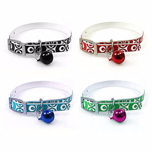 Plastic Metallic Printed Assorted Colour Dog Collar With Bell 32cm 3200