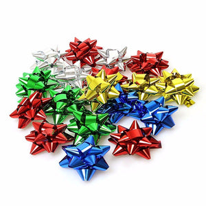 5cm Multi Christmas Xmas Matt/Shiny Self Adhesive Present Gift Bows-20 Pack  2712 (Parcel Rate)